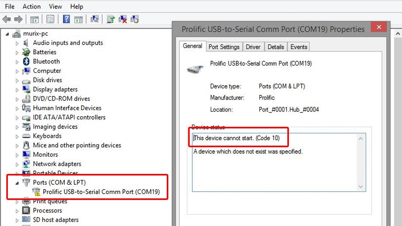 SOLVED: Prolific USB to Serial - This Device Cannot Start (Code 10) Issue Solution