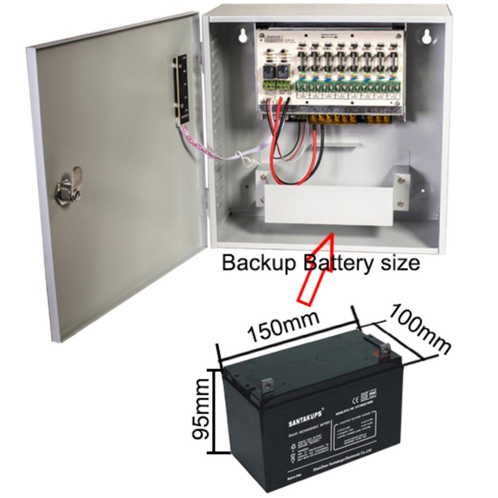 12v Dc 8 Channel Cctv Camera Battery Backup Ups Uninterruptible Wiring Supplies Uk Psu Size