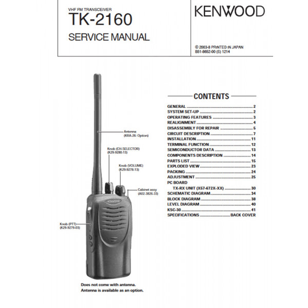 Kenwood TK 2160 B51 8652 00 Service Manual PDF Instant Download